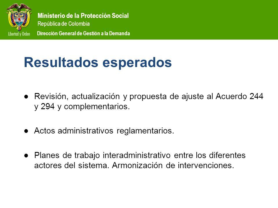 Ministerio de la Protección Social República de Colombia Dirección General de Gestión a la Demanda Resultados esperados Revisión, actualización y prop