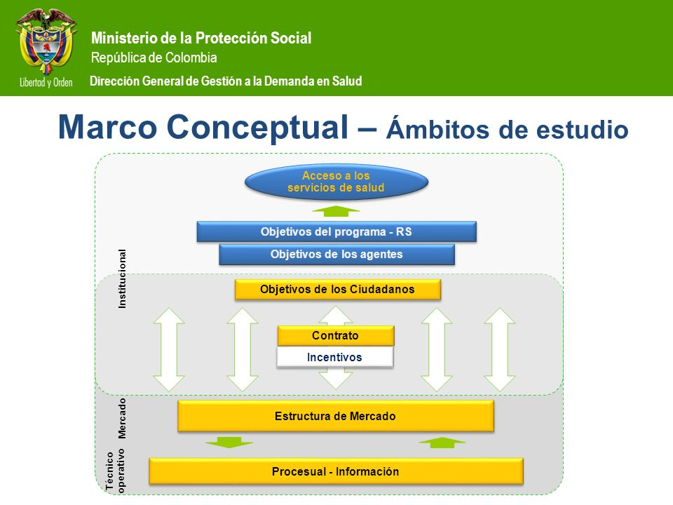 Ministerio de la Protección Social República de Colombia Dirección General de Gestión a la Demanda en Salud Marco Conceptual – Ámbitos de estudio Estr