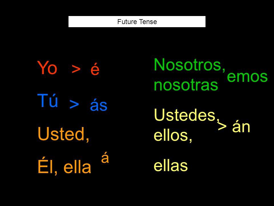 Future Tense Yo Tú Usted, Él, ella Nosotros, nosotras Ustedes, ellos, ellas > é > ás á emos > án