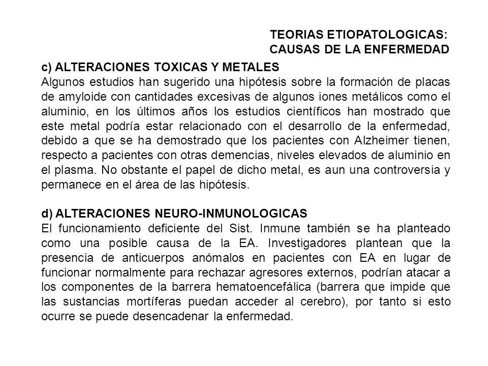 c) ALTERACIONES TOXICAS Y METALES Algunos estudios han sugerido una hipótesis sobre la formación de placas de amyloide con cantidades excesivas de alg