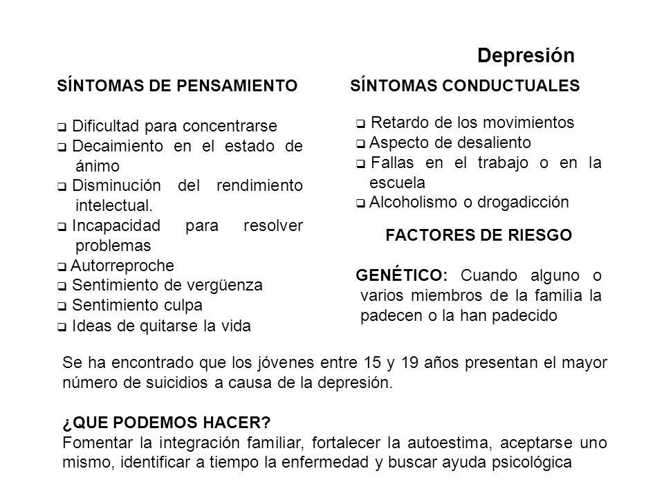 Depresión SÍNTOMAS DE PENSAMIENTO Dificultad para concentrarse Decaimiento en el estado de ánimo Disminución del rendimiento intelectual. Incapacidad