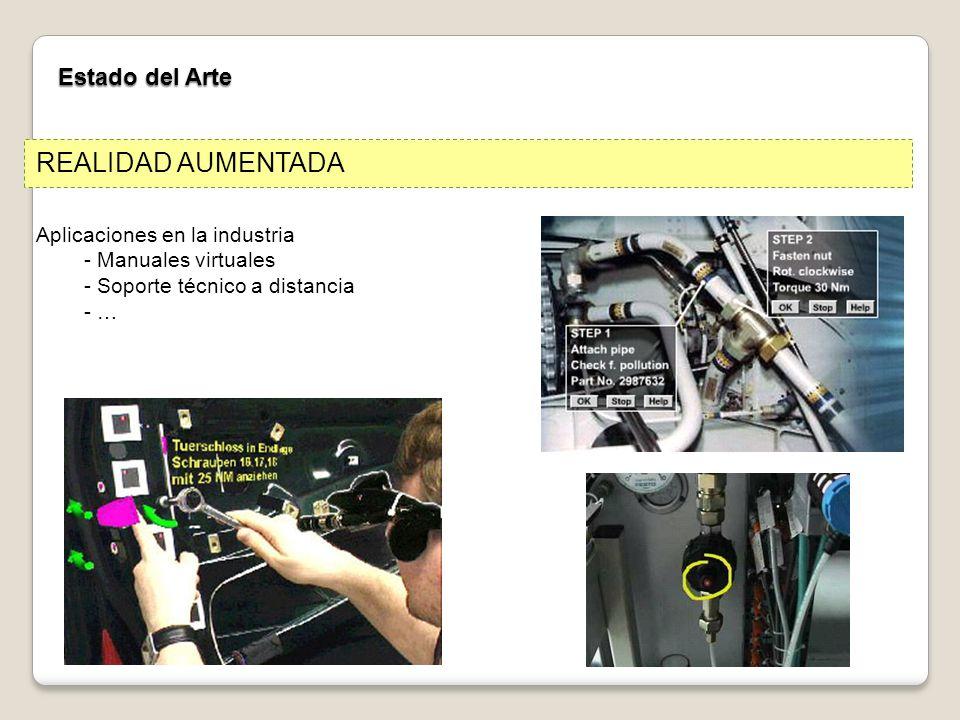 Estado del Arte Aplicaciones en la industria - Manuales virtuales - Soporte técnico a distancia - … REALIDAD AUMENTADA