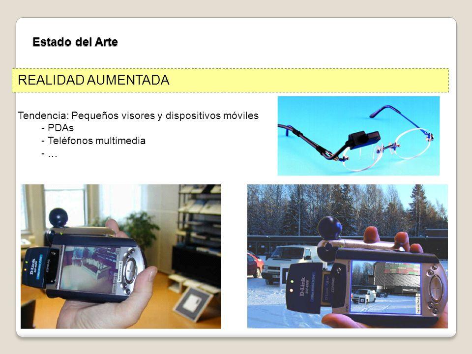 Estado del Arte REALIDAD AUMENTADA Tendencia: Pequeños visores y dispositivos móviles - PDAs - Teléfonos multimedia - …