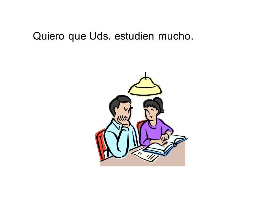 Quiero que Uds. estudien mucho.