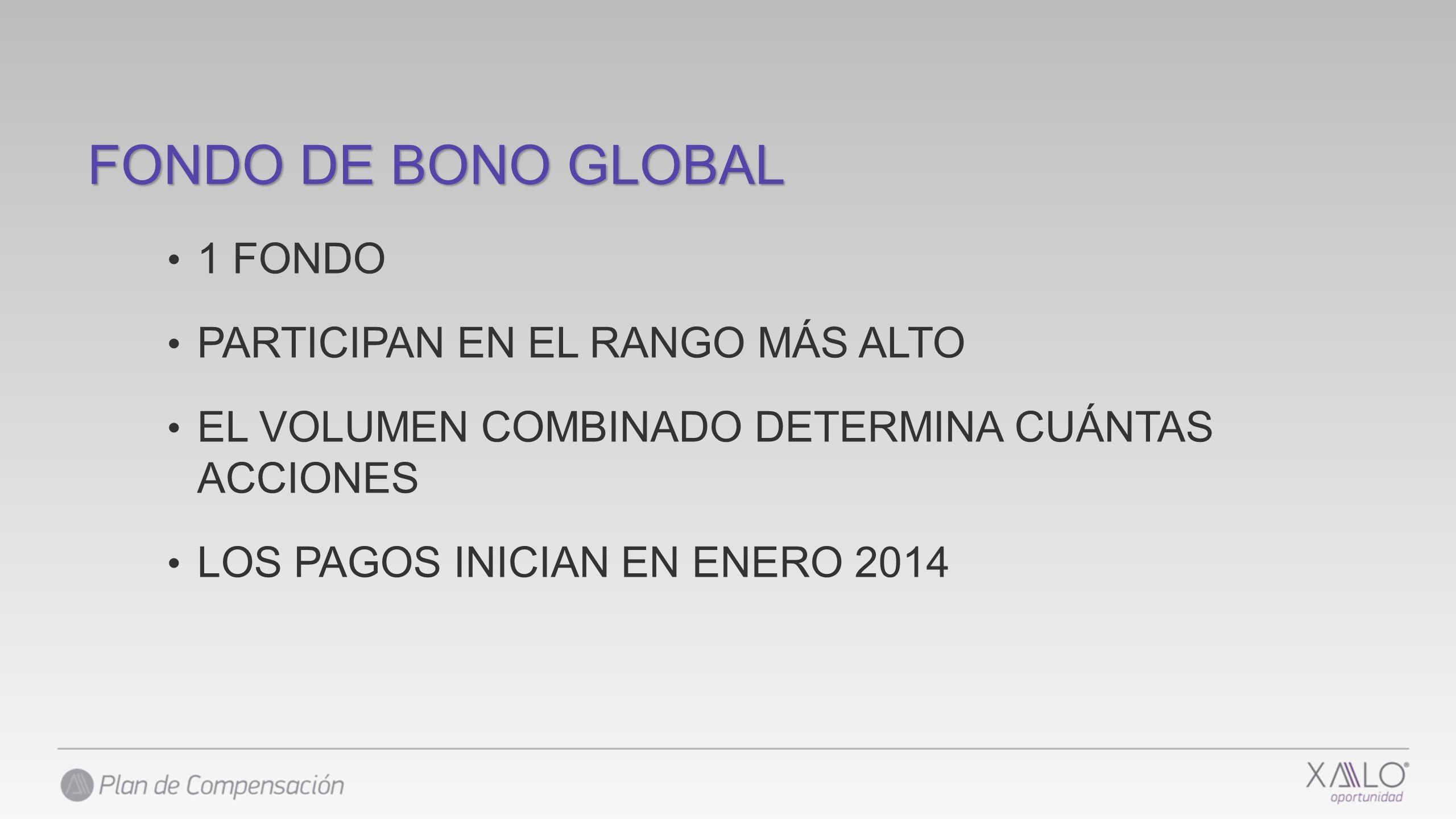 FONDO DE BONO GLOBAL 1 FONDO PARTICIPAN EN EL RANGO MÁS ALTO EL VOLUMEN COMBINADO DETERMINA CUÁNTAS ACCIONES LOS PAGOS INICIAN EN ENERO 2014