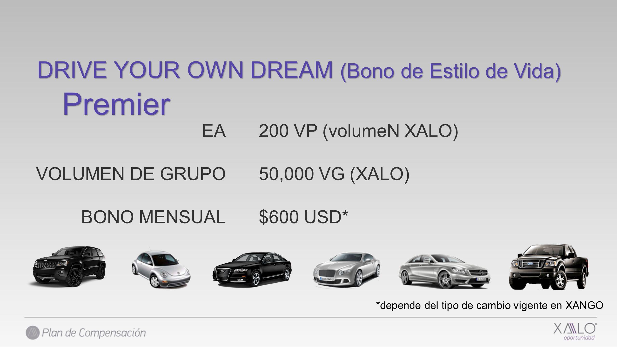 DRIVE YOUR OWN DREAM (Bono de Estilo de Vida) Premier 200 VP (volumeN XALO) 50,000 VG (XALO) $600 USD* EA VOLUMEN DE GRUPO BONO MENSUAL *depende del t