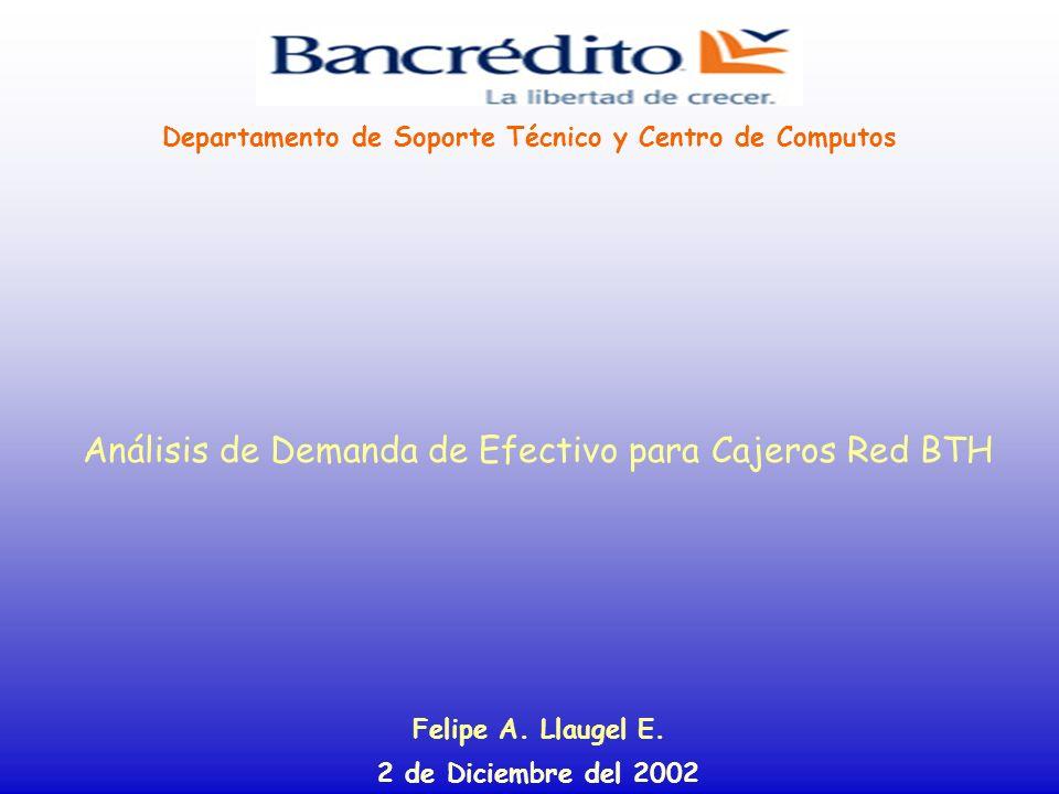 Análisis de Demanda de Efectivo para Cajeros Red BTH Felipe A. Llaugel E. 2 de Diciembre del 2002 Departamento de Soporte Técnico y Centro de Computos