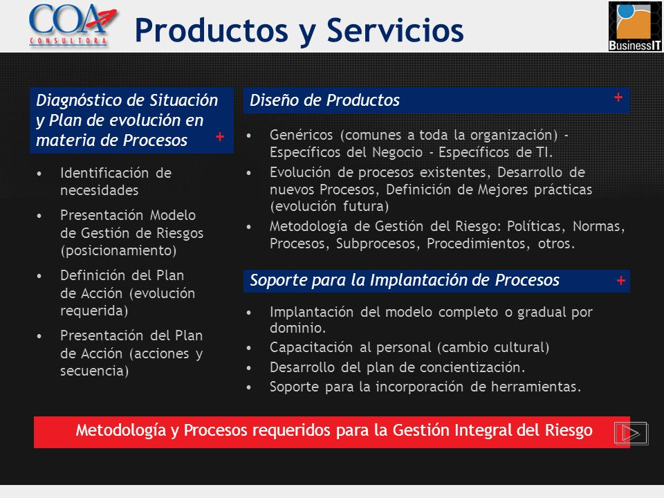 Identificación de necesidades Presentación Modelo de Gestión de Riesgos (posicionamiento) Definición del Plan de Acción (evolución requerida) Presenta