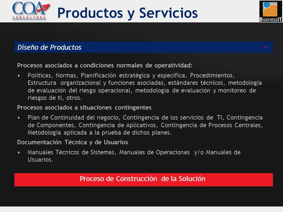 Procesos asociados a condiciones normales de operatividad: Políticas, Normas, Planificación estratégica y específica, Procedimientos, Estructura organ