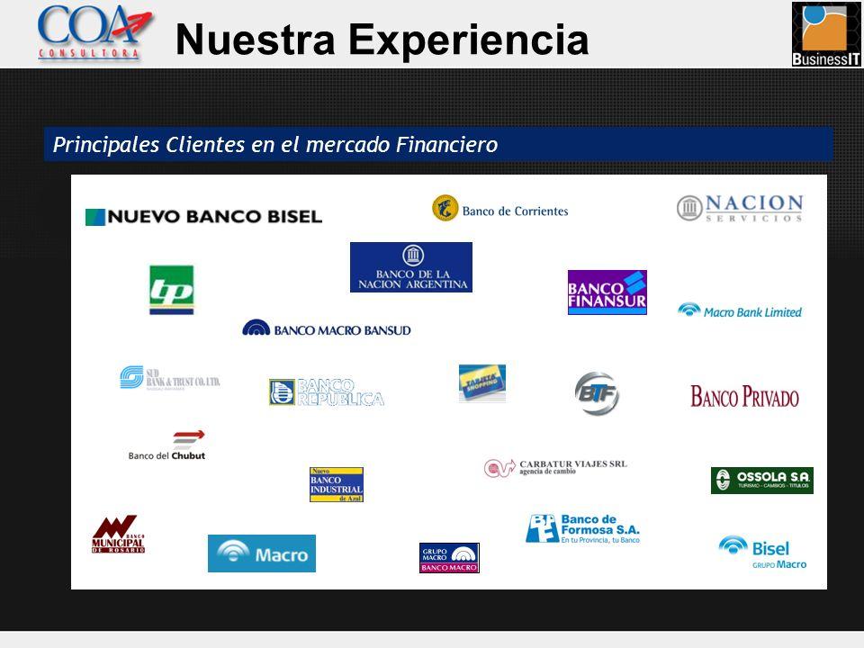 Principales Clientes en el mercado Financiero Nuestra Experiencia