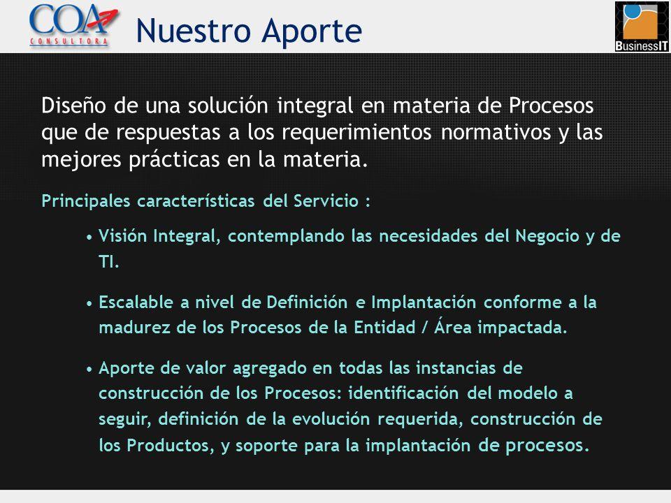 Nuestro Aporte Diseño de una solución integral en materia de Procesos que de respuestas a los requerimientos normativos y las mejores prácticas en la