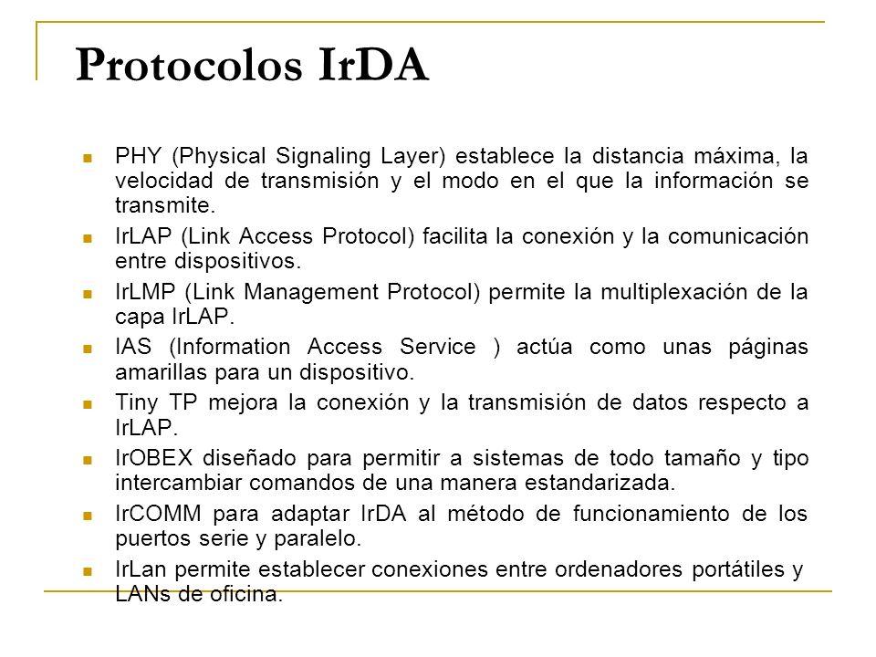 Protocolos IrDA PHY (Physical Signaling Layer) establece la distancia máxima, la velocidad de transmisión y el modo en el que la información se transm