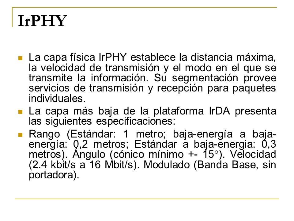IrPHY La capa física IrPHY establece la distancia máxima, la velocidad de transmisión y el modo en el que se transmite la información. Su segmentación