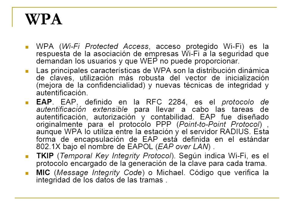 WPA WPA (Wi-Fi Protected Access, acceso protegido Wi-Fi) es la respuesta de la asociación de empresas Wi-Fi a la seguridad que demandan los usuarios y