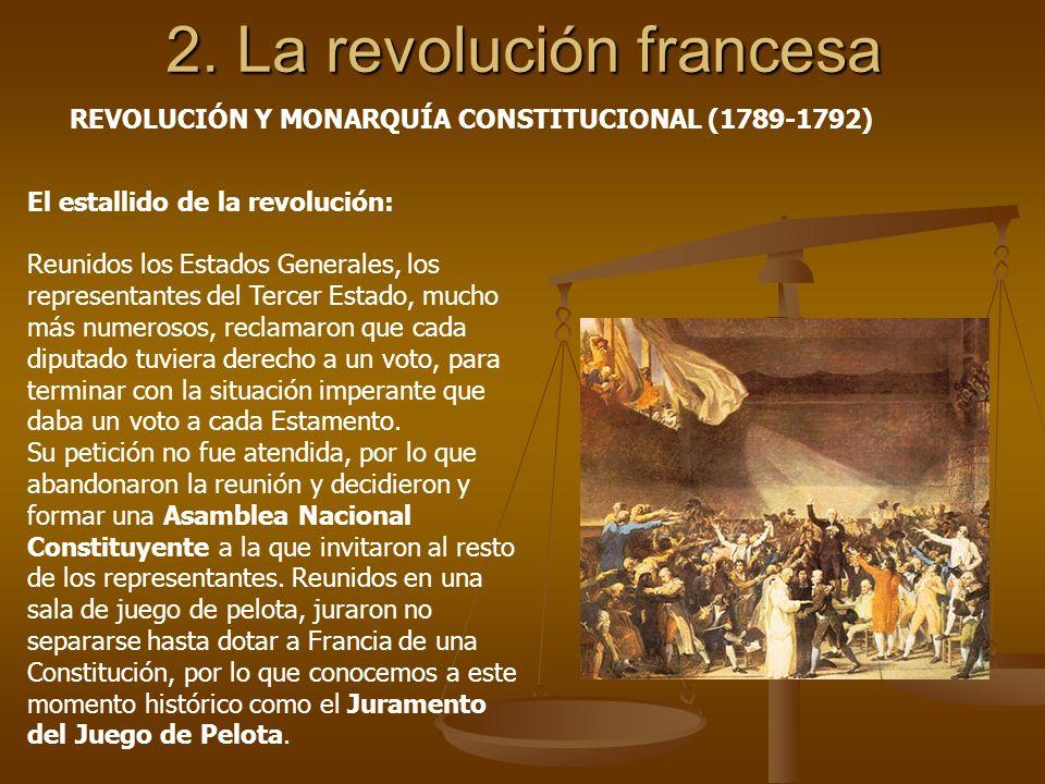 2. La revolución francesa El estallido de la revolución: Reunidos los Estados Generales, los representantes del Tercer Estado, mucho más numerosos, re