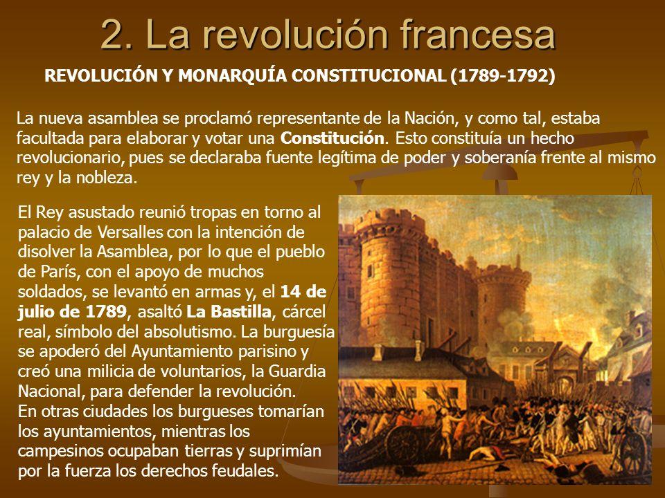 2. La revolución francesa REVOLUCIÓN Y MONARQUÍA CONSTITUCIONAL (1789-1792) La nueva asamblea se proclamó representante de la Nación, y como tal, esta