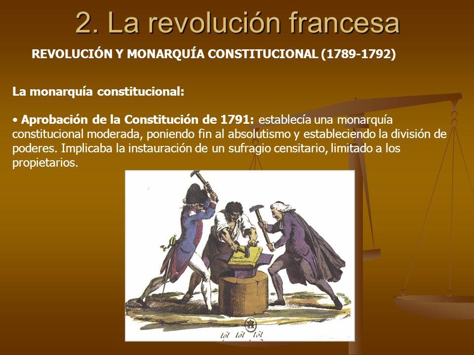2. La revolución francesa La monarquía constitucional: Aprobación de la Constitución de 1791: establecía una monarquía constitucional moderada, ponien
