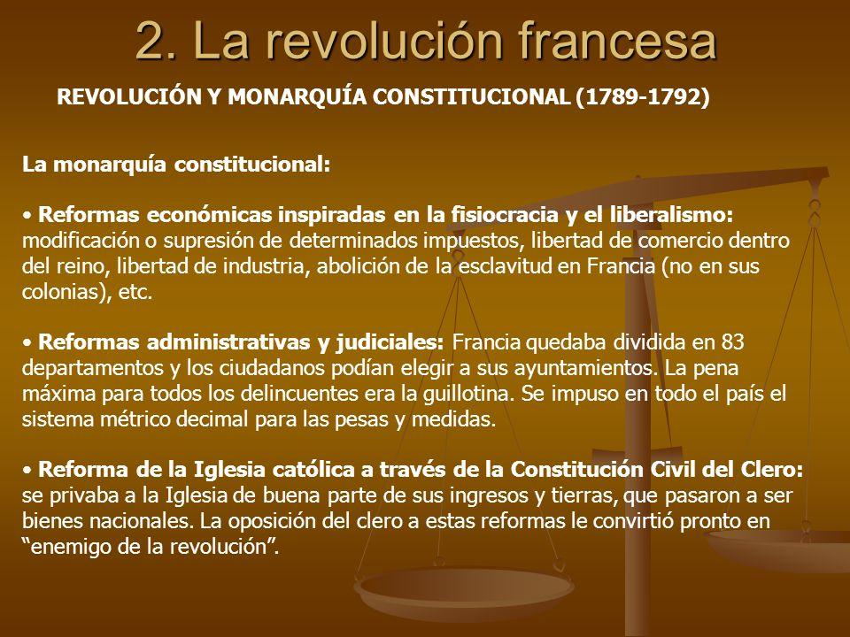 2. La revolución francesa La monarquía constitucional: Reformas económicas inspiradas en la fisiocracia y el liberalismo: modificación o supresión de