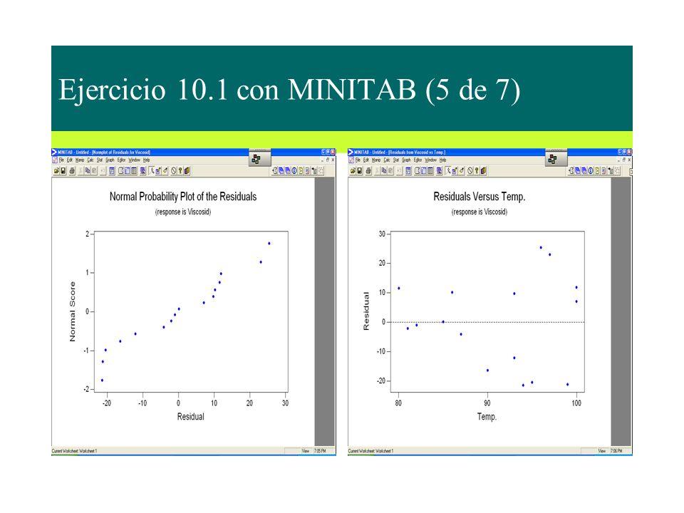 Ejercicio 10.1 con MINITAB (5 de 7)