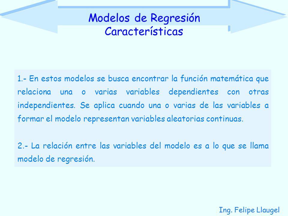 Ing. Felipe Llaugel 1.- En estos modelos se busca encontrar la función matemática que relaciona una o varias variables dependientes con otras independ