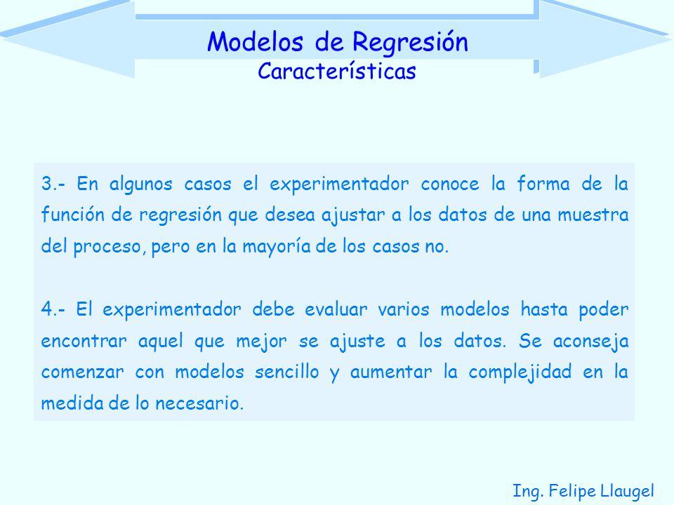 Ing. Felipe Llaugel 3.- En algunos casos el experimentador conoce la forma de la función de regresión que desea ajustar a los datos de una muestra del