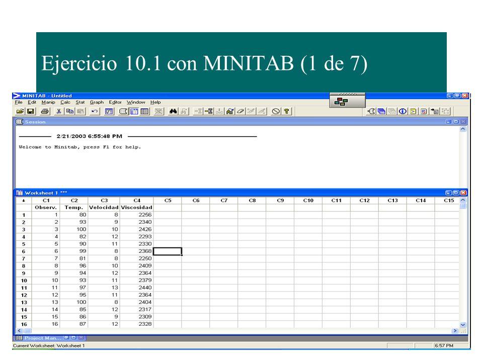 Ejercicio 10.1 con MINITAB (1 de 7)