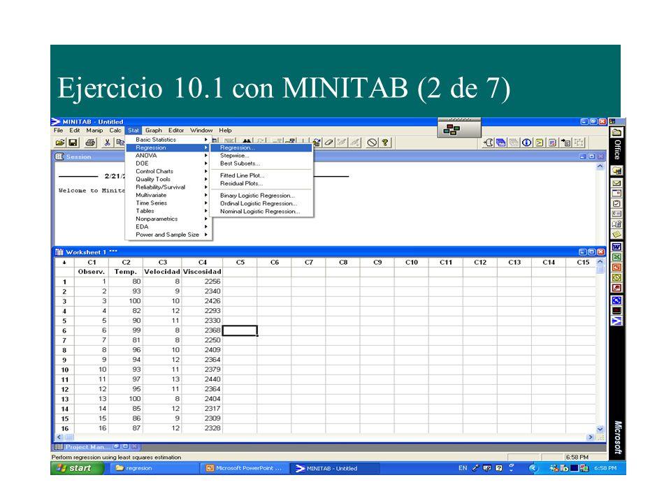 Ejercicio 10.1 con MINITAB (2 de 7)