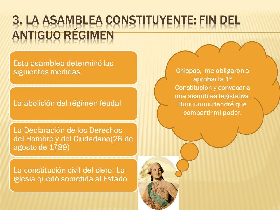 Esta asamblea determinó las siguientes medidas La abolición del régimen feudal. La Declaración de los Derechos del Hombre y del Ciudadano(26 de agosto