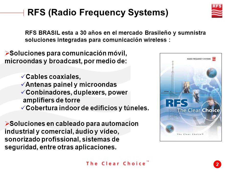 2 RFS (Radio Frequency Systems) RFS BRASIL esta a 30 años en el mercado Brasileño y sumnistra soluciones integradas para comunicación wireless : Soluc