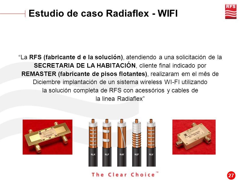 27 Estudio de caso Radiaflex - WIFI La RFS (fabricante d e la solución), atendiendo a una solicitación de la SECRETARIA DE LA HABITACIÓN, cliente fina