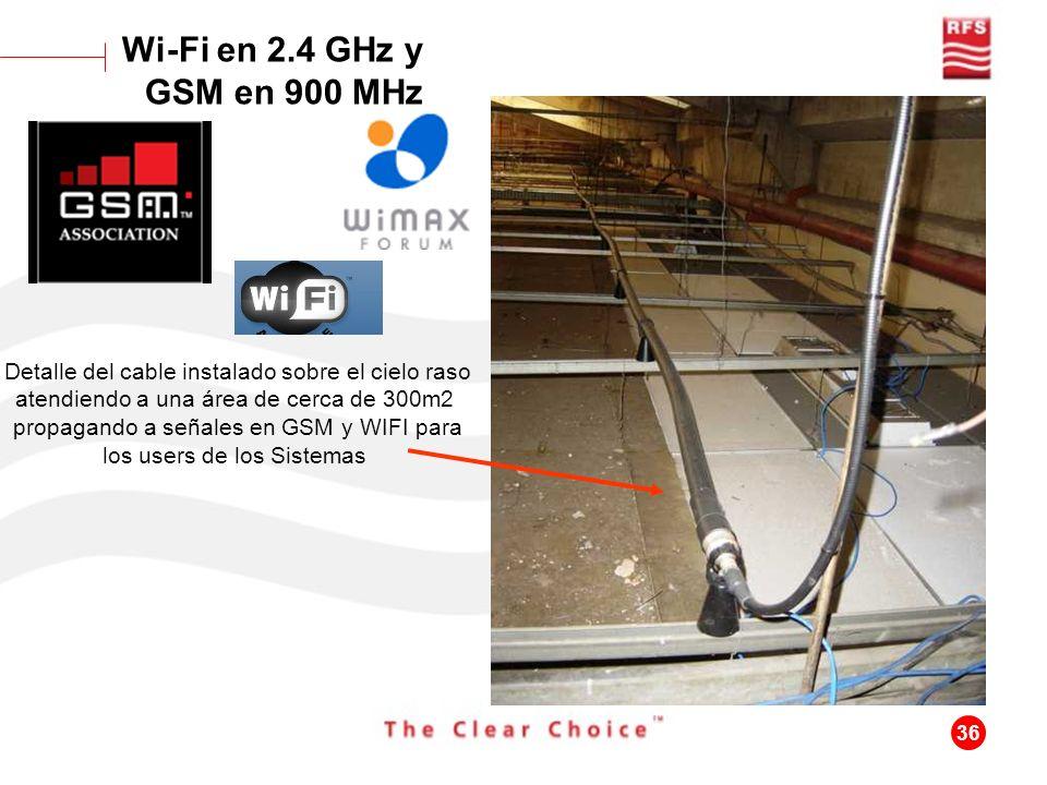 36 Detalle del cable instalado sobre el cielo raso atendiendo a una área de cerca de 300m2 propagando a señales en GSM y WIFI para los users de los Si
