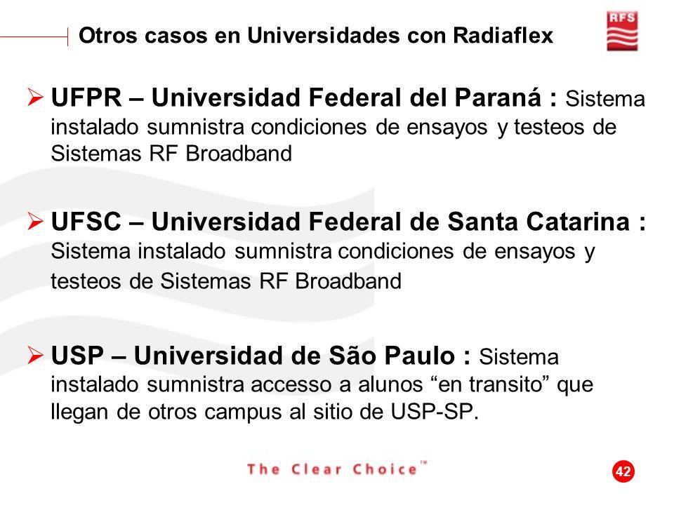 42 UFPR – Universidad Federal del Paraná : Sistema instalado sumnistra condiciones de ensayos y testeos de Sistemas RF Broadband UFSC – Universidad Fe