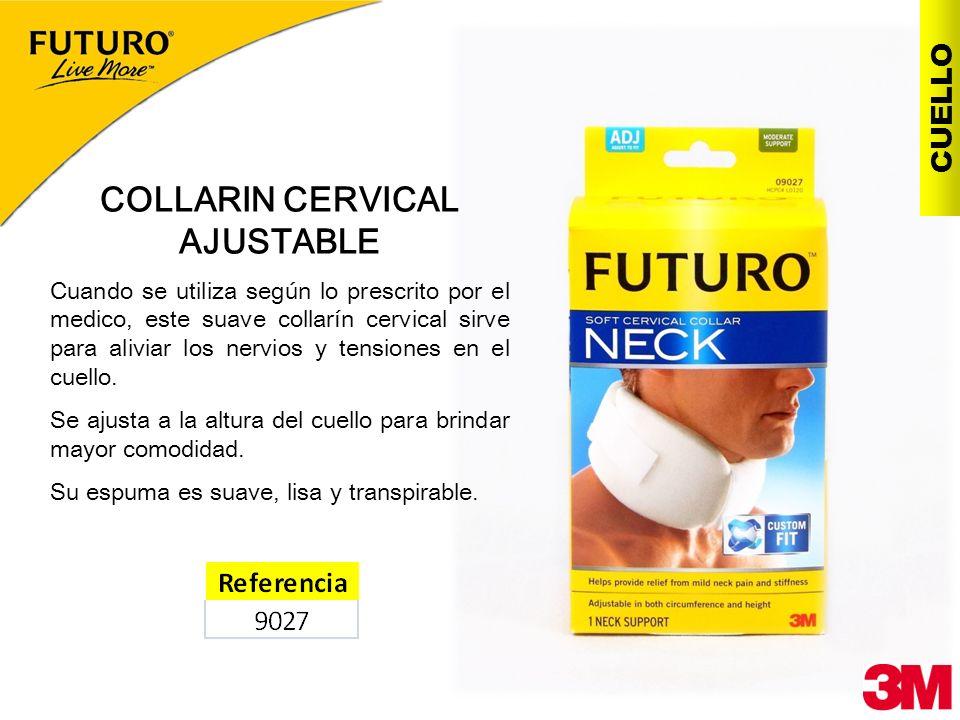 COLLARIN CERVICAL AJUSTABLE Cuando se utiliza según lo prescrito por el medico, este suave collarín cervical sirve para aliviar los nervios y tensione