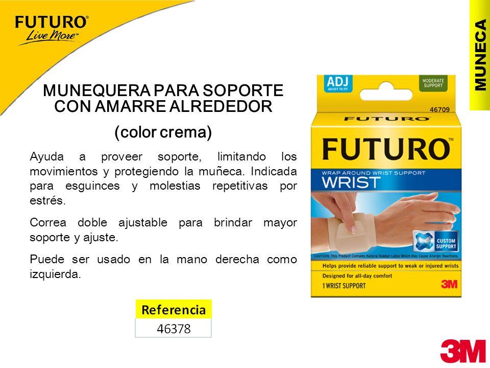 MUNECA MUNEQUERA PARA SOPORTE CON AMARRE ALREDEDOR (color crema) Ayuda a proveer soporte, limitando los movimientos y protegiendo la muñeca. Indicada
