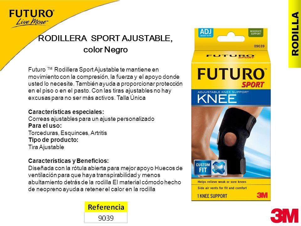 RODILLA RODILLERA SPORT AJUSTABLE, color Negro Futuro Rodillera Sport Ajustable te mantiene en movimiento con la compresión, la fuerza y el apoyo dond