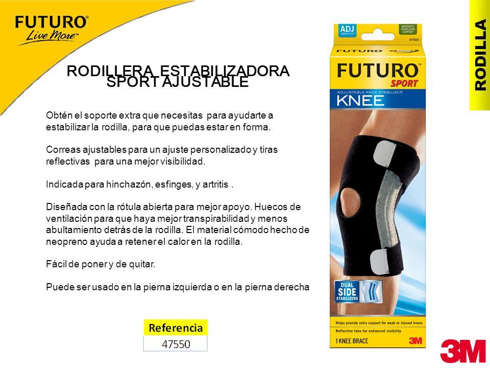 RODILLA RODILLERA ESTABILIZADORA SPORT AJUSTABLE Obtén el soporte extra que necesitas para ayudarte a estabilizar la rodilla, para que puedas estar en