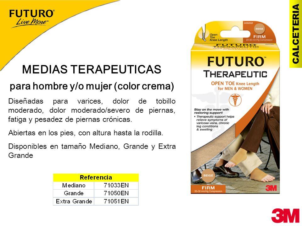 CALCETERIA MEDIAS TERAPEUTICAS para hombre y/o mujer (color crema) Diseñadas para varices, dolor de tobillo moderado, dolor moderado/severo de piernas