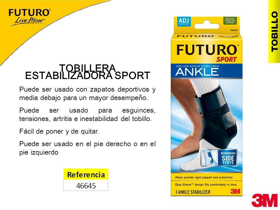 TOBILLO TOBILLERA ESTABILIZADORA SPORT Puede ser usado con zapatos deportivos y media debajo para un mayor desempeño. Puede ser usado para esguinces,