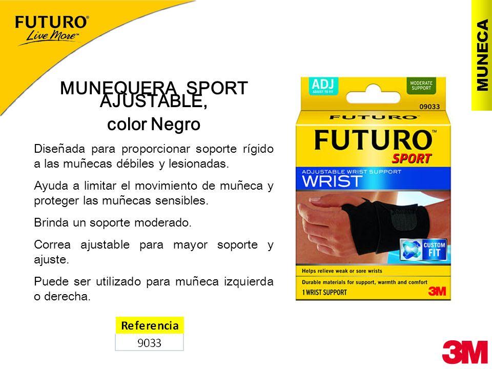 MUNECA MUNEQUERA SPORT AJUSTABLE, color Negro Diseñada para proporcionar soporte rígido a las muñecas débiles y lesionadas. Ayuda a limitar el movimie
