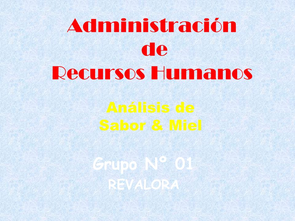 Administración de Recursos Humanos Grupo Nº 01 REVALORA Análisis de Sabor & Miel