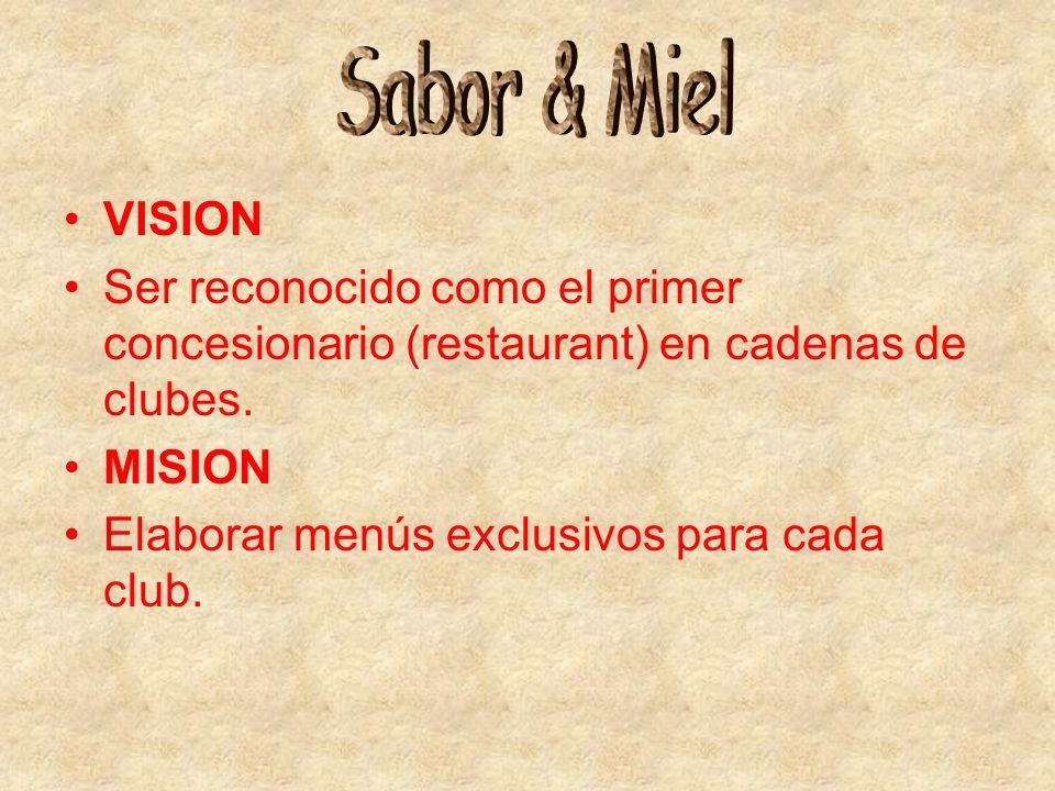 VISION Ser reconocido como el primer concesionario (restaurant) en cadenas de clubes. MISION Elaborar menús exclusivos para cada club.
