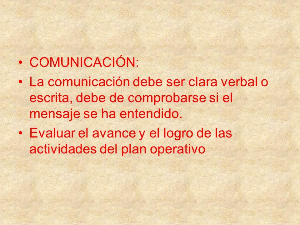 COMUNICACIÓN: La comunicación debe ser clara verbal o escrita, debe de comprobarse si el mensaje se ha entendido. Evaluar el avance y el logro de las