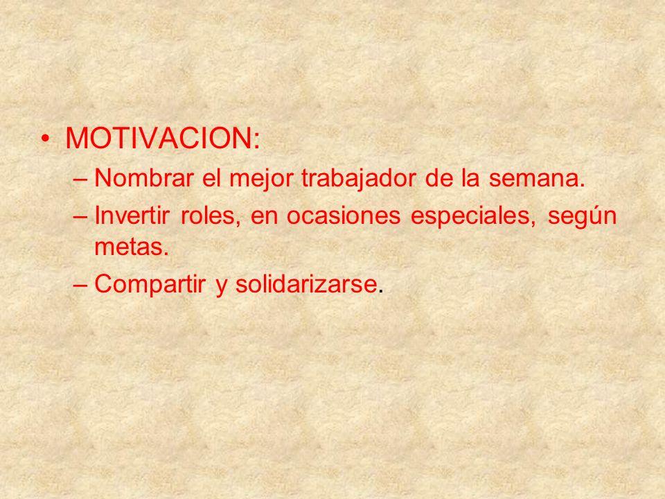 MOTIVACION: –Nombrar el mejor trabajador de la semana. –Invertir roles, en ocasiones especiales, según metas. –Compartir y solidarizarse.
