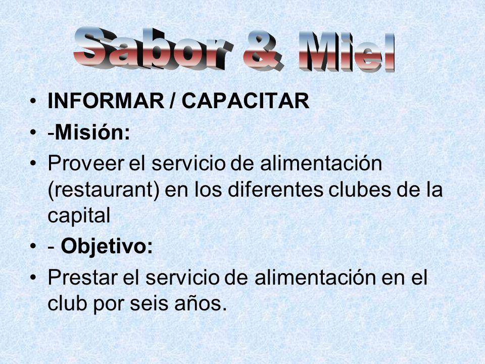 INFORMAR / CAPACITAR -Misión: Proveer el servicio de alimentación (restaurant) en los diferentes clubes de la capital - Objetivo: Prestar el servicio