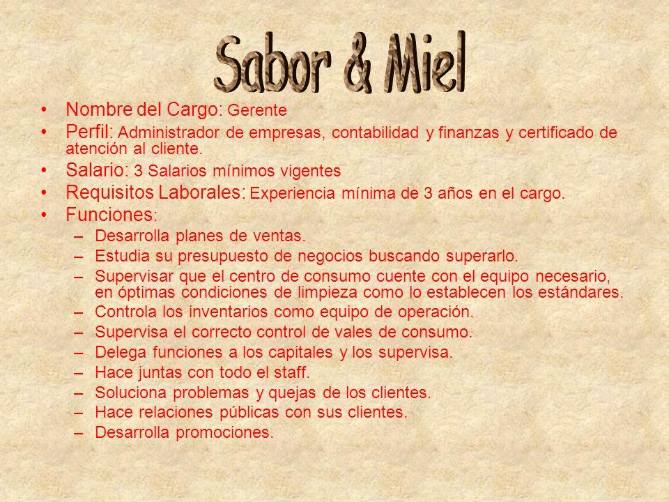Nombre del Cargo: Gerente Perfil: Administrador de empresas, contabilidad y finanzas y certificado de atención al cliente. Salario: 3 Salarios mínimos