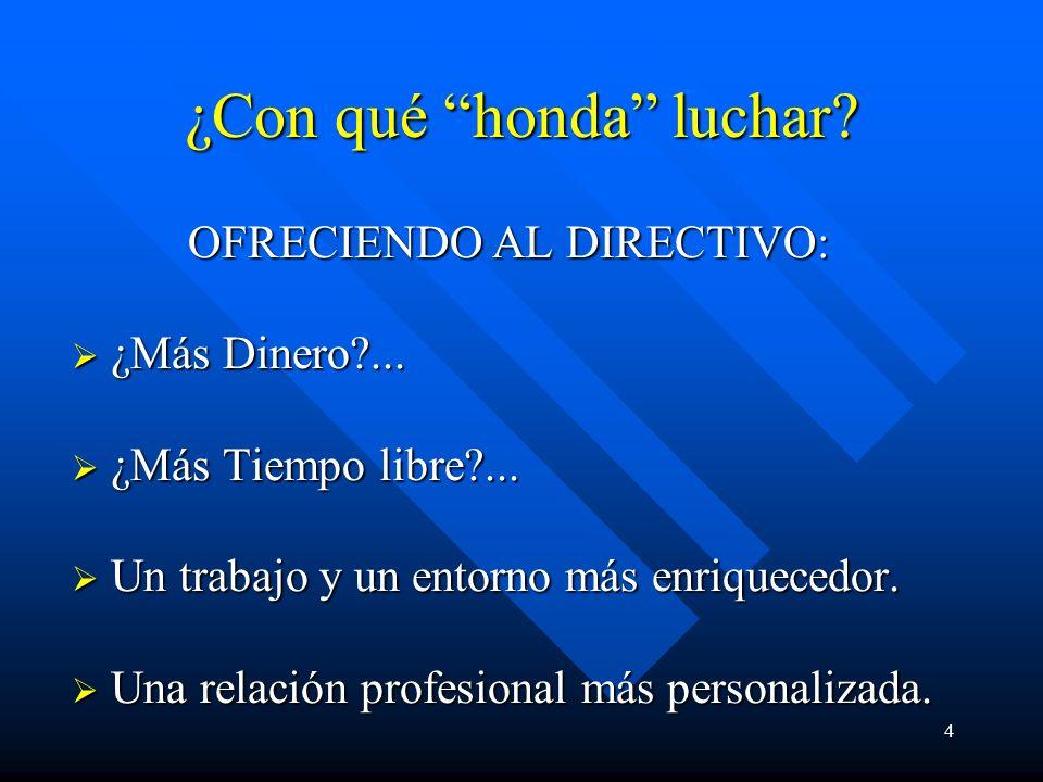 4 ¿Con qué honda luchar. OFRECIENDO AL DIRECTIVO: OFRECIENDO AL DIRECTIVO: ¿Más Dinero?...