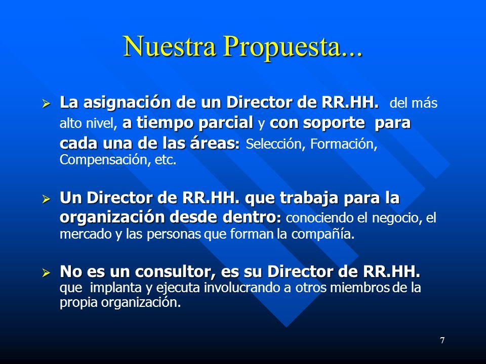 8 Nuestra propuesta… Una Direcci ó n de Recursos Humanos que da el m á ximo protagonismo a los directivos y managers Una Direcci ó n de Recursos Humanos que da el m á ximo protagonismo a los directivos y managers de la organizaci ó n.
