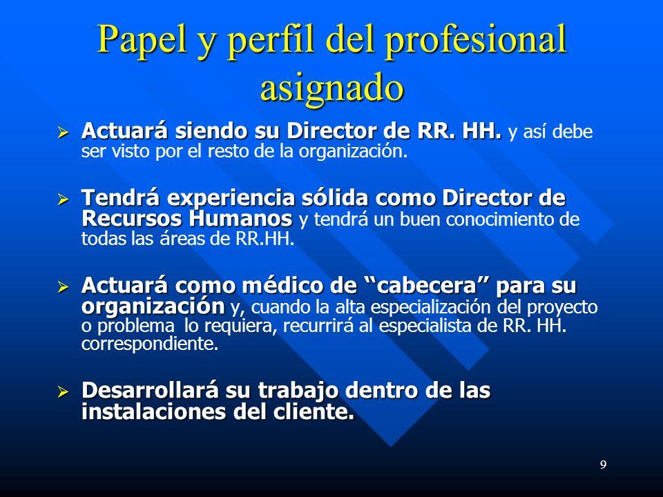 9 Papel y perfil del profesional asignado Actuar á siendo su Director de RR.