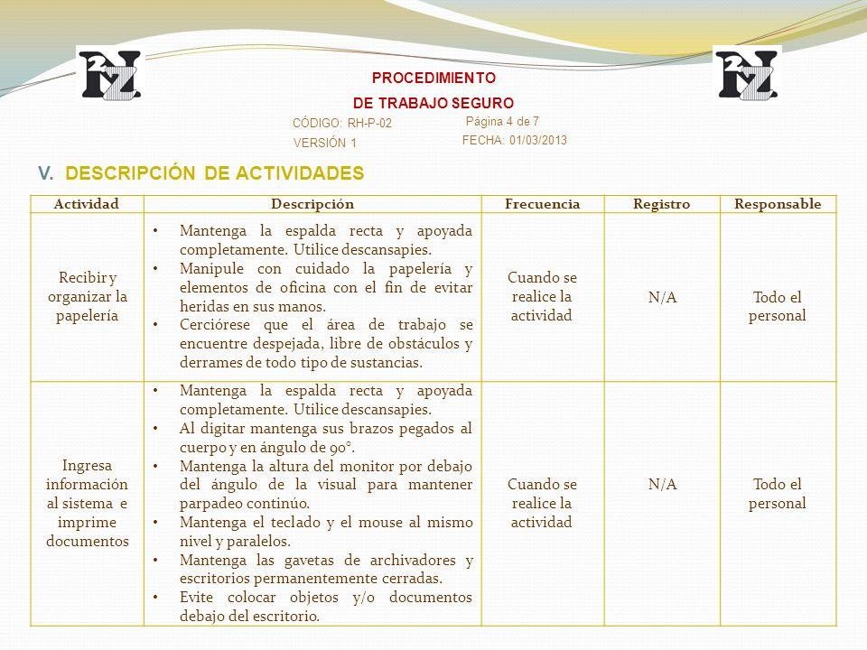 VERSIÓN 1 CÓDIGO: RH-P-02 Página 4 de 7 FECHA: 01/03/2013 PROCEDIMIENTO DE TRABAJO SEGURO V. DESCRIPCIÓN DE ACTIVIDADES ActividadDescripciónFrecuencia