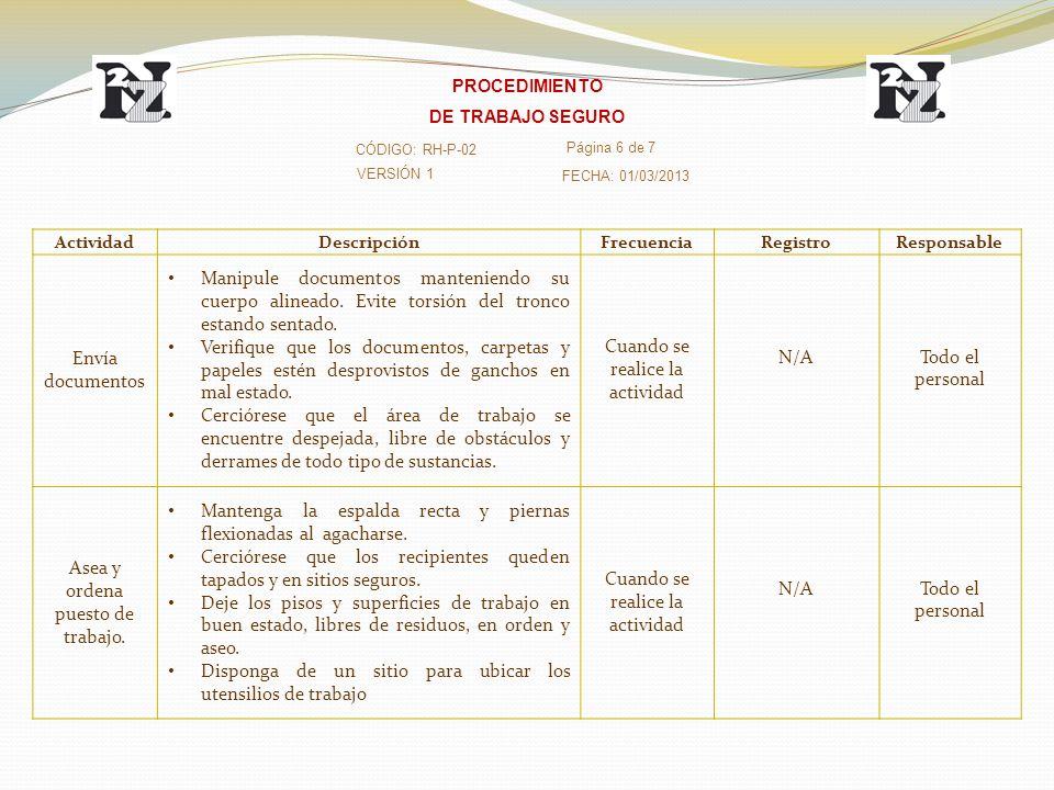 VERSIÓN 1 CÓDIGO: RH-P-02 Página 6 de 7 FECHA: 01/03/2013 PROCEDIMIENTO DE TRABAJO SEGURO ActividadDescripciónFrecuenciaRegistroResponsable Envía docu